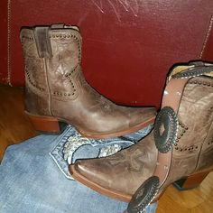 ✝SONORA distressed boots w/cross These 100% real leather. ..bottoms are real leather as well (sign of good boots)  distressed brown comfy western style boots...embellished with an awesome cross design SONORA Shoes Ankle Boots & Booties