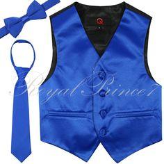 Formal Fashion Solid Kid's Boy's Tuxedo Vest Bow Tie Necktie 3pcs Set in Royal…