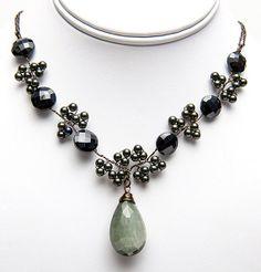 Green Black Beaded Necklace Green Cats Eye by CherylParrottJewelry