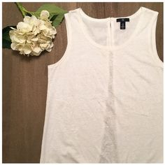 GAP top Adorable white top with open flyaways in the back, worn just once! Outer layer: 60% cotton/ 40% polyester. Inner: 100% polyester GAP Tops