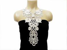 Handmade Cotton Lace Applique Collar, necklace- White- Dancer Lace- Woman Accessories- Oriental Style- Harem Design- Woman Applique - OOAK