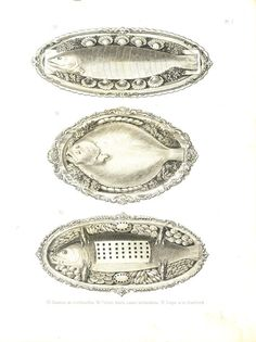 Food Presentation, Fishes, French Cuisine Antique Print 1874 Old by CarambasVintage, $32.00
