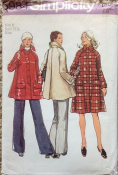 1970s Simplicity 5984 Misses Tent Coat Jacket   Vintage Sewing Pattern by mbchills