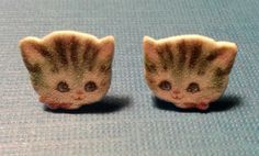 vintage greeting card kitty earrings