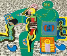 "Walter BATTISS ""Mother of the tribe"" oil/canvas - cm Contemporary African Art, Contemporary Artists, Modern Art, Walter Battiss, South African Artists, Africa Art, Art Archive, Shape And Form, African Design"