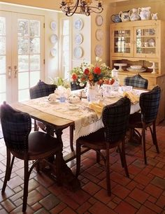 Love it! My Scottish heritage (tartan) in a French country dining room.