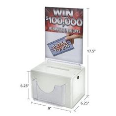 Azar 206387 Large White Lottery Box by Azar. $33.68. From the Manufacturer                WHITE plastic suggestion box has many uses, use as a contest entry box, drop box and lead box to collect sales leads and advertise contest prizes or rules. This comment box anonymously collects suggestions from employees and customers. The security lock keeps donations safe when used as a charity collection box. The lottery box is 9-Inch wide x 6.25-Inch deep x 6.25-Inch high ...