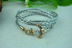 Gray  Leather Bracelet Anchor BraceletCharm Bangle by Evanworld, $6.99