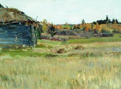 Sergei Vinogradov - Autumn, Backyard Russian Art, Landscape, Painting, Outdoor, Autumn, Backyards, Artworks, Art, Paint