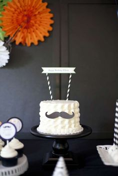 cake at a little man mustache birthday party! See more party ideas at ! Mustache Cake, Mustache Birthday, Mustache Party, 1st Boy Birthday, 1st Birthday Parties, Mustache Theme, Sonic Birthday, Father Birthday, Little Man Birthday Party Ideas