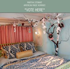 3D Fairytale Tree Installation with silk & linen Flowers for Girls Room: Juvenile Hall Design; creators of kids room design & decor.  Please support us with your vote! #juvenilehalldesign http://www.marthastewart.com/americanmade/nominee/80332?xsc=SOC_AM_NomFB