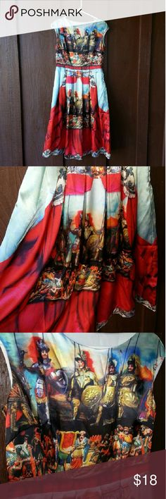 European Soldier Dress Opra 6 Will ship same day if possible.    Brand new. Never wore it. Very cute on. Pleated. Knee length.  Beautiful colors. Sky blue. Red. Gold. Zipper on side.  Has inside slip.  70% silk 30% cotton Dresses Midi