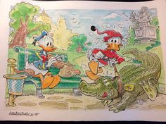 """Donald Duck - """"Paperoga crocodile-sitter"""" - Pagina sciolta - Catawiki Illustrations And Posters, Donald Duck, Disney, Painting, Drawings, Illustrations Posters, Painting Art, Paintings, Painted Canvas"""