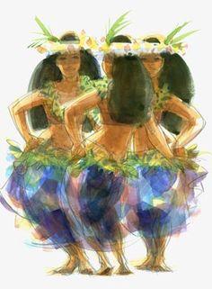 Hawaiian dance girls by Judith Kunzle