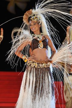 Miss Tahiti contestant winning first place in costume designed by Auntie Myrna.