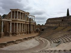 The ruins of the Roman amphitheater in Merida, Spain