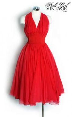 1950's Lilli Diamond Red Chiffon Halter Bombshell Dress
