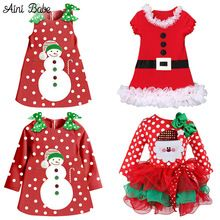 2016 Red Christmas Girls Dress Snow Man Xmas Winter Dot Dresses Kids Clothes Cotton Children's Clothing Christmas Party Costume(China (Mainland))
