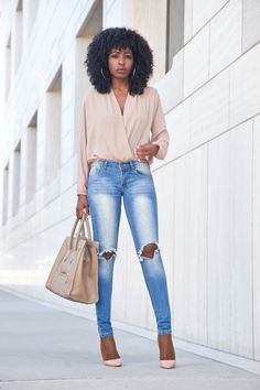 Faux Wrap Blouse + Ripped Jeans