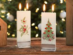 These candles stand out in their simplicity. Hand-painted in Lithuania, the holiday patterns add a touch of festive to your space. The flatter design is a unique approach to candles that has a minimal (and eye-catching) feel. The twin wicks burn evenly an Holiday Candles, Holiday Ornaments, Christmas Decorations, Snowflake Decorations, Holiday Decorating, Decorating Ideas, Decor Ideas, Unique Christmas Gifts, Holiday Gifts