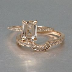 622$ Morganite Bridal Set,Engagement ring Rose gold,Diamond wedding band,14k,6x8mm Emerald cut,Gemstone Promise Ring,Claw Prongs,Pave,Curved