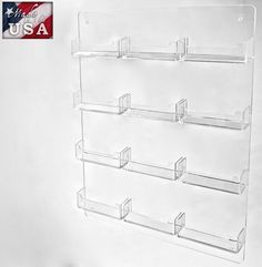 12 Pocket Wall Mount Business Card Holders in Acrylic Display Business Card Displays, Business Card Holders, Business Cards, Brochure Holders, Menu Holders, Table Tents, Organizing, Organization, Acrylic Display