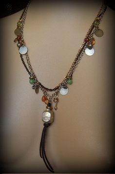 Ethipoian Pendant and Charmed Chain Beaded Necklace by YuccaBloom