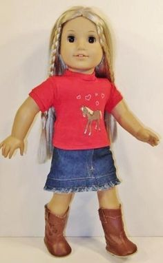 Western Horse Outfit fits American Girl Doll,18 inch Doll Clothes + Cowboy Boots #Unbranded