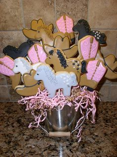 Hat and boots Biscuit Cupcakes, Cupcake Cookies, Cowgirl Birthday, Cowgirl Party, Cowgirl Cookies, Cookie Bouquet, Birthday Parties, Birthday Ideas, Cupcake Ideas