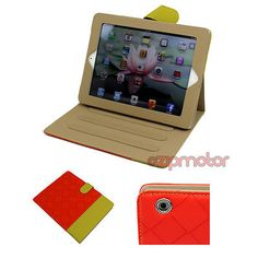 CASE COVER POUCH STAND PU LEATHER RED/YELLOW FOR APPLE IPAD 2 2ND 3RD 4TH GEN