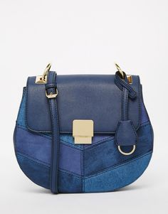 Image 1 of ALDO Saddle Bag in Navy Denim With Hardwear Detail