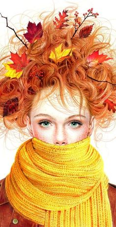 This is an illustration by Morgan Davidson called Fall Frazzled Girl. It was created using colored pencil... I believe colored pencil is way under-appreciated... I think it's a great.