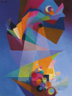 Stanton Macdonald-Wright (American, 1890-1973), Embarkation, 1962. Oil on panel, 122.6 x 91.8 cm.