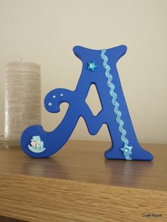 """Wooden freestanding blue letter """"A"""" Freestanding Wooden Letters, Birthday Candles, Lettering, Table, Room, Crafts, Handmade, Bedroom, Manualidades"""