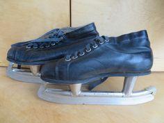 Russian vintage leather hockey skates. USSR vintage Gagi. Soviet vintage shoes 1970s. Hockey equipment Hockey Ice Skating Antique ice skates