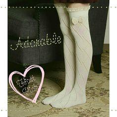 🎉HP🎉Thigh High Diamond Pattern Sock Thigh high diamond pattern socks with crochet lace bow.. Available immediately in cream. Boutique Accessories Hosiery & Socks