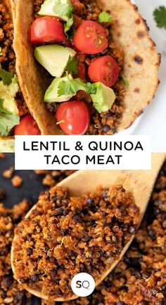 This Quinoa Lentil Taco Meat is a delicious and healthy vegan/vegetarian alternative to ground beef! Easy to make and loaded with delicious Mexican flavors. Trust me this recipe is AMAZING! #tacomeat #quinoarecipes #vegetariantacos #tacorecipe Quinoa Tacos, Lentil Tacos, Meat Recipes, Chicken Recipes, Dinner Recipes, Grilling Recipes, Brunch Recipes, Dinner Ideas, Breakfast Recipes