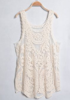 Light Apricot Lace Embroidery Sleeveless Cotton T-Shirt $21