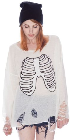 Hahaha~Keep Those Lungs Clear...  Wildfox Couture Lennon Sparkly Skeleton Sweater!