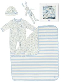 £77 'GIFT SET 2' cotton blanket/toy/sleepsuit/hat