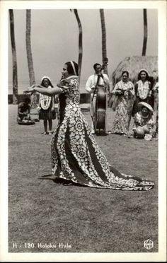 Hawaii Holoku Hula Hawaiian Woman Dancer Musicians Old RPPC
