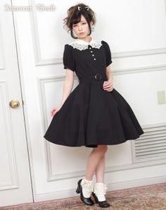 Chemical Lace Short-sleeved Flare Onepiece || Lolita style dress from innocent world