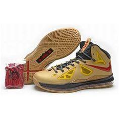 http://www.asneakers4u.com/ Nike Lebron 10 Cheap Gold Yellow Red Black