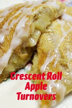Easy recipe for an apple dessert everyone loves. Crescent rolls make the crust and cooked apples are the filling for these delicious homemade apple turnovers. Crescent Roll Apple Turnovers, Apple Crescent Rolls, Homemade Crescent Rolls, Crescent Roll Recipes, Roast Recipes, Apple Recipes, Ham Recipes, Pudding Recipes, Steak Recipes