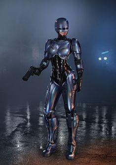 Commission work for Nepgear Female Cyborg, Female Armor, Robocop 2, Best 90s Cartoons, Cyberpunk Girl, Robot Girl, Mundo Comic, Character Art, Character Design