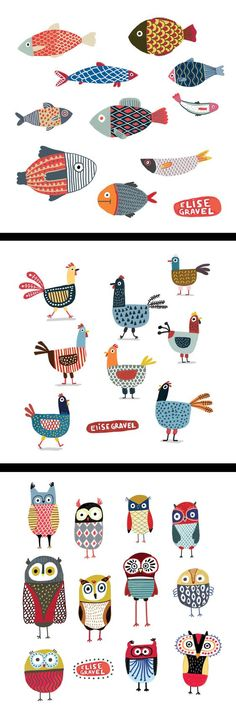 Elise Gravel illustration • fish • hens • chickens • owls • birds • drawing • cute • fun • art • animals • pattern • colorful: