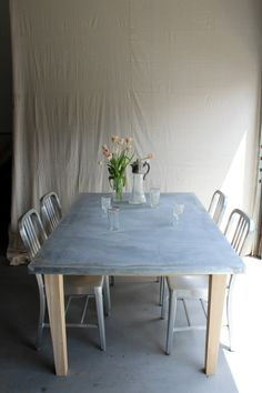 Zinc Top Farm Table - Reclaimed Cedar Pine Wood Barn Rustic Farmhouse Tapered…