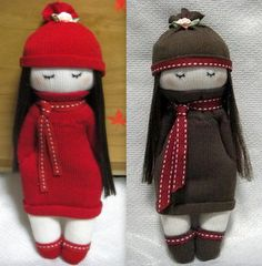 Make a mitten doll or sock doll, Sewing Toys, Sewing Crafts, Sewing Projects, Baby Doll Toys, Sock Toys, Sock Crafts, Sock Animals, Loom Knitting, Fabric Dolls
