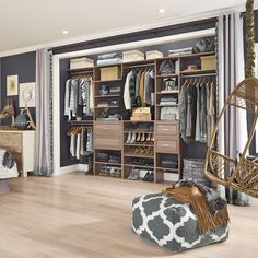 Who says a reach-in closet can't be chic? Upgrade your storage with SuiteSymphony.  Featured Finish: Natural Gray  #Closet #ClosetGoals #DIY #HomeDecor #ClosetMaid Closet Storage, Closet Organization, Standing Closet, Reach In Closet, Hanging Bar, Garment Racks, Clothing Storage, Closet Bedroom, Home Kitchens