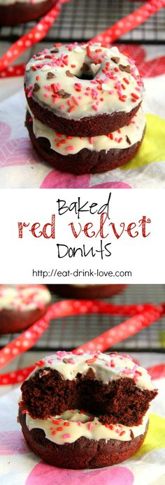 Baked Red Velvet Donuts with Cream Cheese Icing
